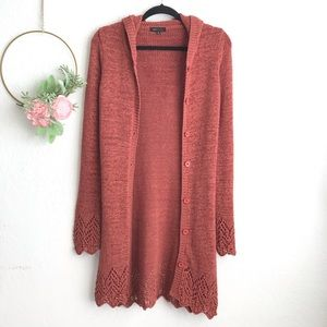 BCBGMaxazria Cable Knit Hooded Cardigan Duster